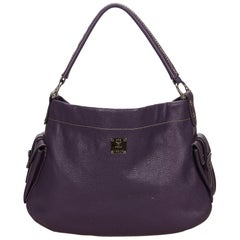 Vintage Authentic MCM Purple Leather Handbag Germany MEDIUM
