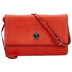 Vintage Authentic MCM Red Leather Embossed Shoulder Bag Germany MEDIUM