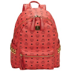 Vintage Authentic MCM Red Leather Visetos Studded Backpack Germany LARGE