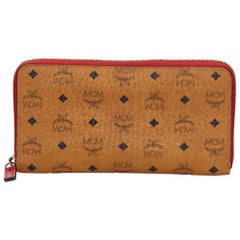 Vintage Authentic MCM Visetos Zip Around Wallet Italy w Dust Bag Box SMALL