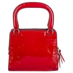 Vintage Authentic Miu Miu Red Patent Leather Handbag Italy w/ Dust Bag SMALL