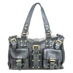 Vintage Authentic Mulberry Black Leather Roxanne Handbag United Kingdom MEDIUM