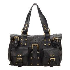 Vintage Authentic Mulberry Black Leather Roxanne United Kingdom MEDIUM