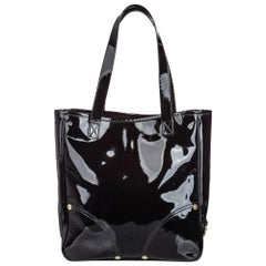 Vintage Authentic Mulberry Black Patent Leather Tote CHINA w/ Dust Bag LARGE