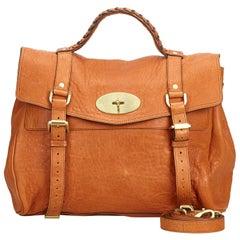Vintage Authentic Mulberry Brown Leather Alexa Satchel UNITED KINGDOM MEDIUM
