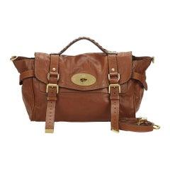 Vintage Authentic Mulberry Brown Leather Alexa Satchel UNITED KINGDOM w MEDIUM