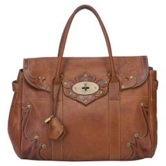 Vintage Authentic Mulberry Brown Leather Bayswater CHINA w/ Padlock, Key LARGE
