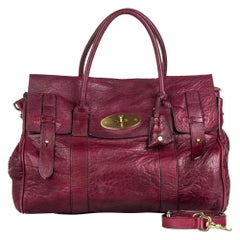 Vintage Authentic Mulberry Leather Bayswater Satchel w Dust Bag Key LARGE