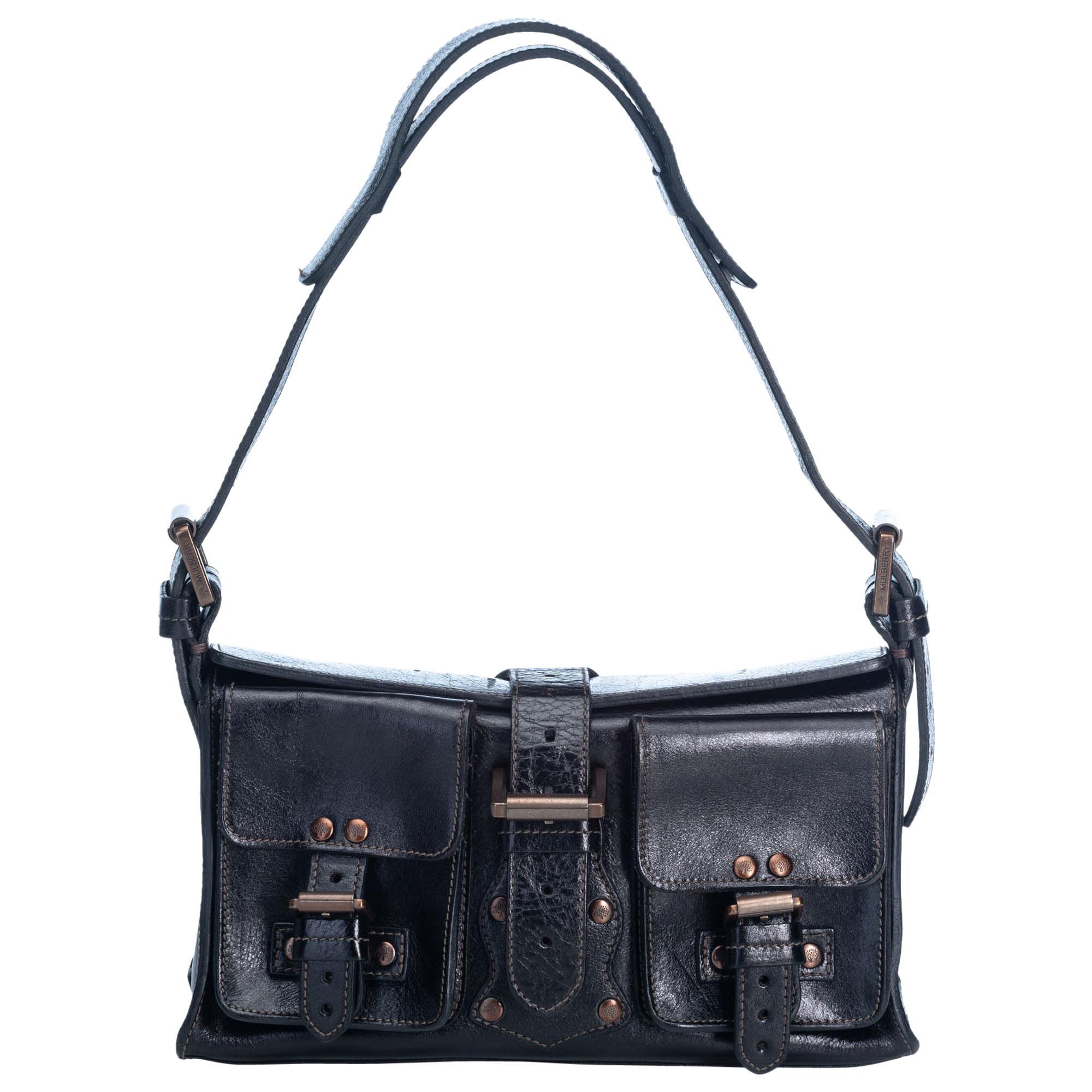 Vintage Authentic Mulberry Leather Roxanne Shoulder Bag W Dust Medium
