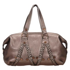 Vintage Authentic Mulberry Silver Leather Metallic Handbag United Kingdom LARGE