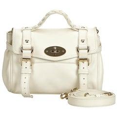 Vintage Authentic Mulberry White Leather Alexa Satchel United Kingdom w SMALL