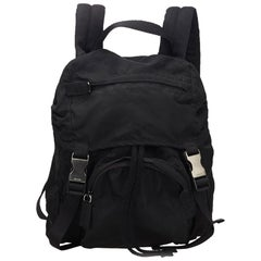 Vintage Authentic Prada Black Backpack Italy w Dust Bag Authenticity Card LARGE