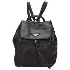 Vintage Authentic Prada Black Leather Backpack Italy w/ Dust Bag MEDIUM