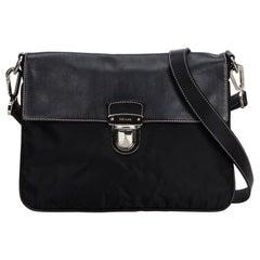 Vintage Authentic Prada Black Leather Crossbody Bag Italy MEDIUM