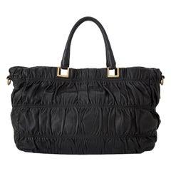 Vintage Authentic Prada Black Leather Gathered Satchel Italy MEDIUM
