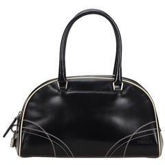 Vintage Authentic Prada Black Leather Handbag Italy w Dust Bag Padlock MEDIUM