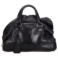 Vintage Authentic Prada Black Leather Mordore Handbag Italy MEDIUM