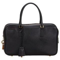 Vintage Authentic Prada Black Leather Saffiano Bauletto Handbag ITALY w MEDIUM