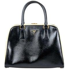 Vintage Authentic Prada Black Leather Saffiano Pyramid Handbag Italy MEDIUM