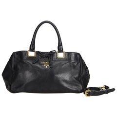 Vintage Authentic Prada Black Leather Satchel ITALY MEDIUM