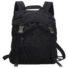 Vintage Authentic Prada Black Nylon Fabric Backpack Italy w/ Dust Bag LARGE