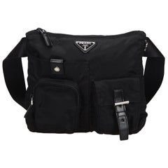Vintage Authentic Prada Black Nylon Fabric Belt Bag Italy SMALL