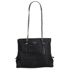 Vintage Authentic Prada Black Nylon Fabric Chain Shoulder Bag Italy MEDIUM