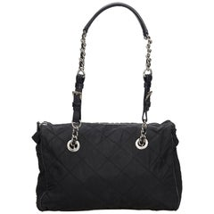 Vintage Authentic Prada Black Nylon Fabric Chain Tote Bag Italy LARGE