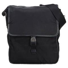 Vintage Authentic Prada Black Nylon Fabric Crossbody Bag ITALY w MEDIUM