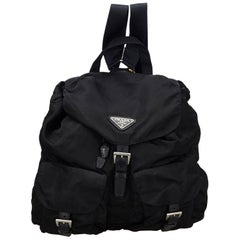 Vintage Authentic Prada Black Nylon Fabric Drawstring Backpack Italy LARGE
