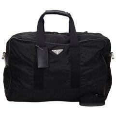 Vintage Authentic Prada Black Nylon Fabric Duffel Bag Italy LARGE