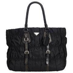 Vintage Authentic Prada Black Nylon Fabric Gathered Handbag ITALY LARGE