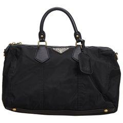 Vintage Authentic Prada Black Nylon Fabric Handbag Italy LARGE