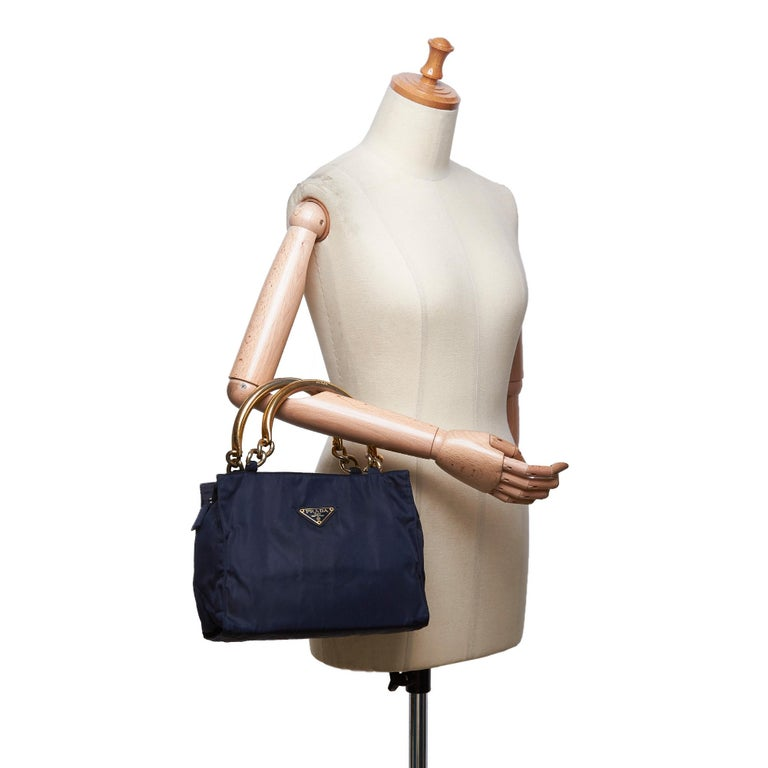 Vintage Authentic Prada Black Nylon Fabric Handbag Italy w MEDIUM  For Sale 6