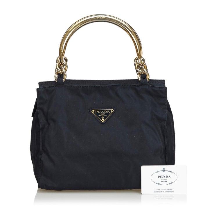 Vintage Authentic Prada Black Nylon Fabric Handbag Italy w MEDIUM  For Sale 7