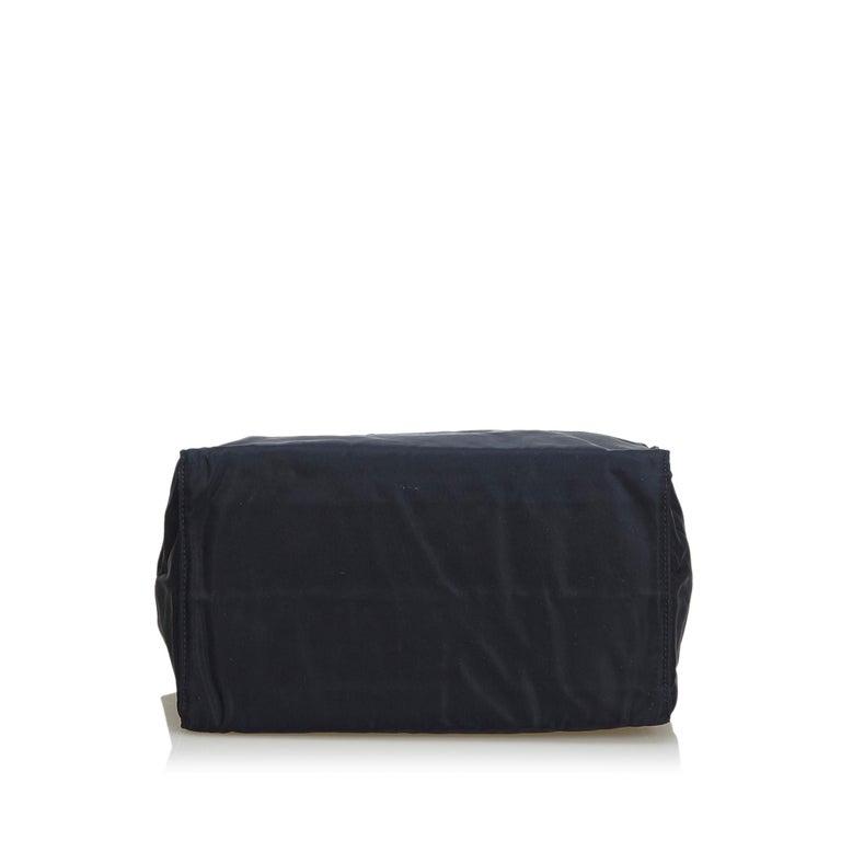 Women's Vintage Authentic Prada Black Nylon Fabric Handbag Italy w MEDIUM  For Sale