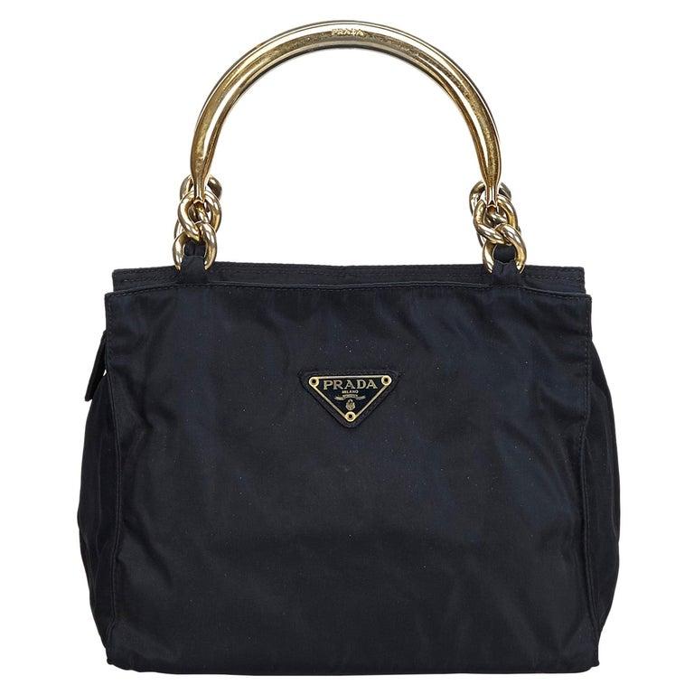 Vintage Authentic Prada Black Nylon Fabric Handbag Italy w MEDIUM  For Sale