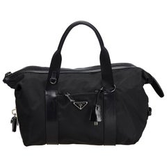 Vintage Authentic Prada Black Nylon Fabric Handbag ITALY w/ Padlock, Key LARGE