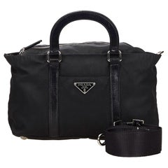 Vintage Authentic Prada Black Nylon Fabric Satchel Italy MEDIUM