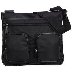 Vintage Authentic Prada Black Nylon Fabric Shoulder Bag Italy MEDIUM