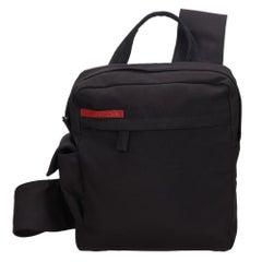 Vintage Authentic Prada Black Nylon Fabric Sports Backpack Italy MEDIUM