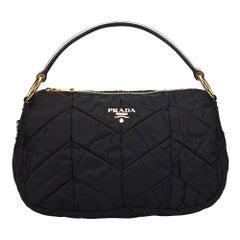 Vintage Authentic Prada Black Nylon Fabric Tessuto Handbag Italy w MEDIUM