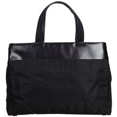 Vintage Authentic Prada Black Nylon Fabric Tote Bag Italy w/ Dust Bag LARGE