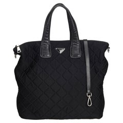 Vintage Authentic Prada Black Quilted Satchel Italy w Authenticity Card LARGE