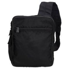 Vintage Authentic Prada Black Sling Backpack Italy w Dust Bag MEDIUM