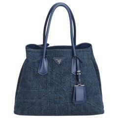 Vintage Authentic Prada Blue Denim Fabric Saffiano Double Cuir Tote Italy LARGE