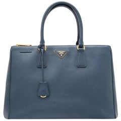 Vintage Authentic Prada Blue Leather Saffiano Galleria Satchel Italy w LARGE