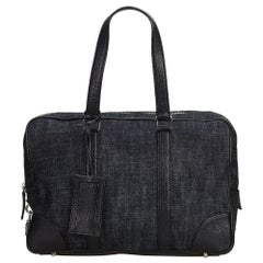 Vintage Authentic Prada Blue Navy Denim Fabric Handbag Italy w Dust Bag MEDIUM