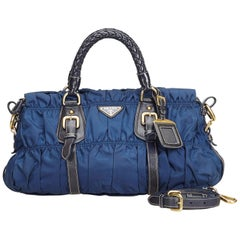 Vintage Authentic Prada Blue Nylon Fabric Gathered Satchel Italy MEDIUM