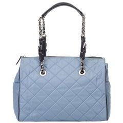 Vintage Authentic Prada Blue Nylon Fabric Quilted Shoulder Bag Italy w MEDIUM